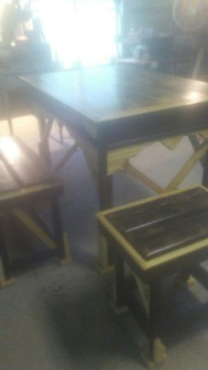 Hand built outside or inside barn style table and benches. for Sale in Spartanburg, SC