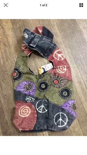 Nepal Patchwork Peace Sign HOBO PURSE tote bag sack handbag hippie Wide Strap for Sale in Milwaukie, OR