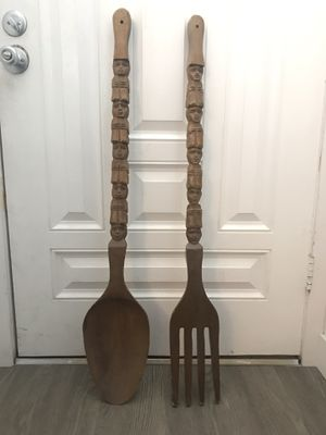 Wooden Giant Fork & Spoon Decor for Sale in Los Angeles, CA