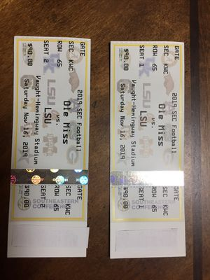 (2) Tickets— LSU vs Ole Miss for Sale in Gonzales, LA