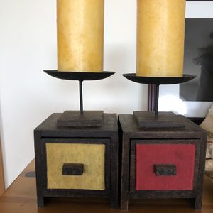 Wooden/ Metal Candle Holder With Tiny Drawer For Small Objects for Sale in Wantagh, NY