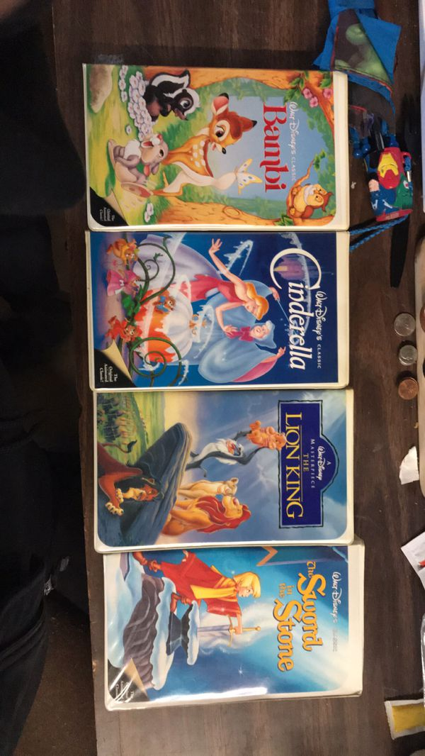 Bambi , Lion king, Cinderella ,the sword in the stone