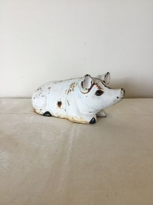 Antique painted figural Cast iron still Penny bank pig/hog glass eyes doorstop for Sale in Berlin, MD