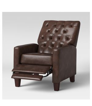 Starkey Modern Push Back Recliner Faux Leather Camel 39.8 inches (H) x 37.4 inches (W) x 29.5 inches (D) new still in box for Sale in La Mesa, CA