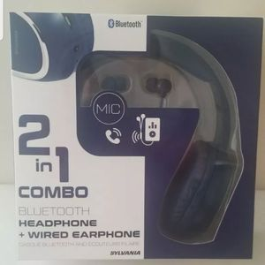 Sylvania Head Phones Bluetooth 2 in 1 Combo Headphone plus wired earphone for Sale in Brighton, CO