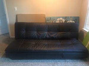 Leather futon. Convertible. Dark brown for Sale in Houston, TX