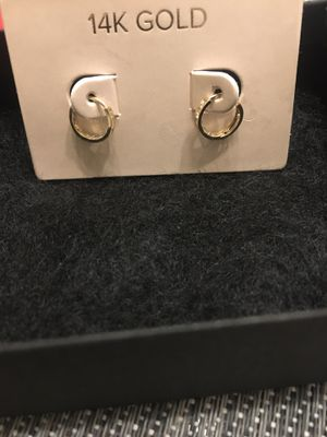 Baby 14 k gold earrings with diamond chips for Sale in Chicago, IL