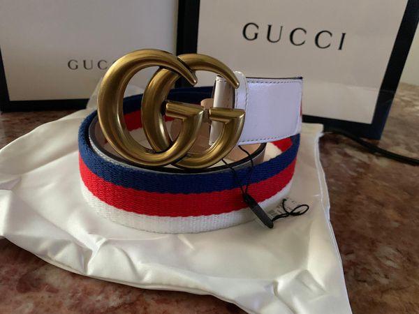 Gg dble g white signature belt