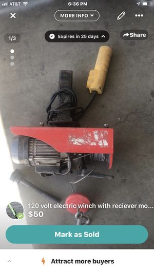 1- 120 volt 1000 lb winch on receiver mount 1- 12 volt 1200 lb winch with plate mount for Sale in Discovery Bay, CA