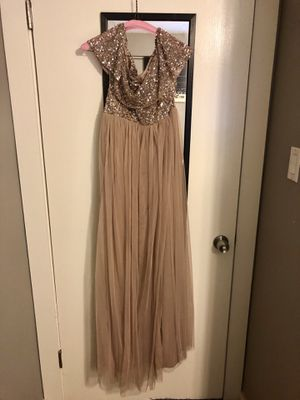 Off-the-shoulder gold maternity bridesmaid dress for Sale in Austin, TX