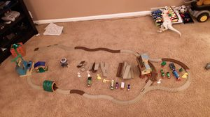 Thomas the train track with tunnels trains amd train track signs for Sale in Goshen, IN