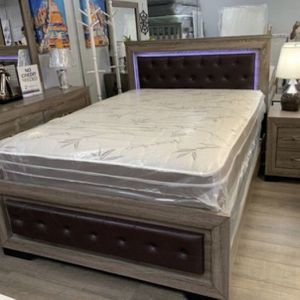 Brand new queen light leather4 Pc bedroom set No Mattresses for Sale in Fort Lauderdale, FL