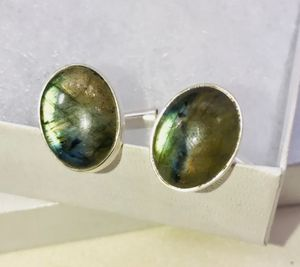 Natural fiery green Labradorite large oval stones & .925 stamped sterling silver cuff links NEW! for Sale in Carrollton, TX