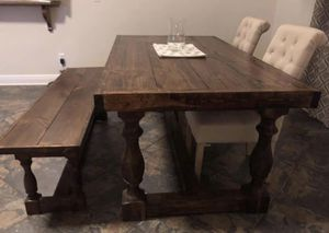 Farmhouse Dining Table W Matching Bench For Sale In Jacksonville FL