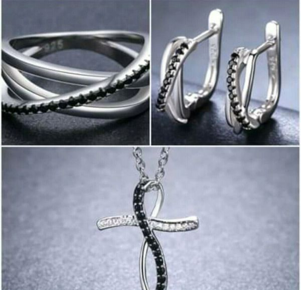 Sterling Silver Baguet Row Black Spinel Jewelry