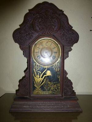 Antique Working 19th Century Victorian Sessions Carved Oak Mantel Clock for Sale in Austin, TX