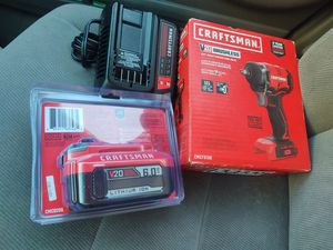 Craftsman kit 3/8 impact wrench brushless 6.0ah battery and charger all new ((look the price for the range only)) for Sale in Modesto, CA