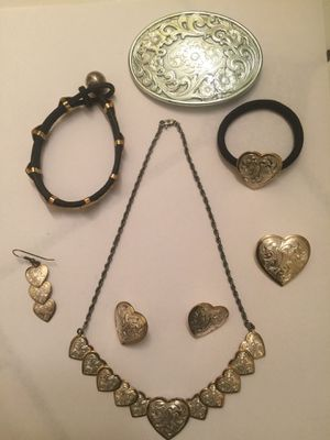 Vintage Montana Silver and gold Heart necklace and ear ring set for Sale in Milton, WA