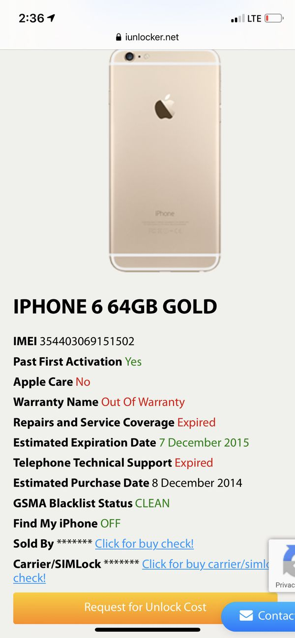 Apple iPhone 6 Gold 64GB Unlocked Verizon AT&T T-Mobile + All
