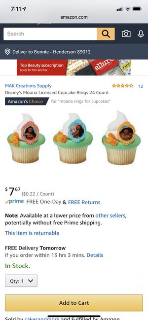 Pack of 24 Moana cake toppers for Sale in Henderson, NV