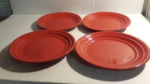 HOME RED RIBBED STONEWARE DINNER PLATES for Sale in Stone Mountain, GA