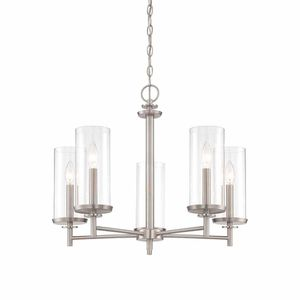 Hampton Bay 5-Light Brushed Nickel Chandelier with Clear Glass Shades. Brand New! for Sale in Plantation, FL