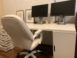 ILEA desk set up plus leather chair for Sale in Virginia Beach, VA