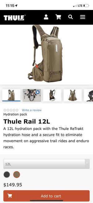 Thule Rail 12L hydration pack/backpack for Sale in Bell Gardens, CA