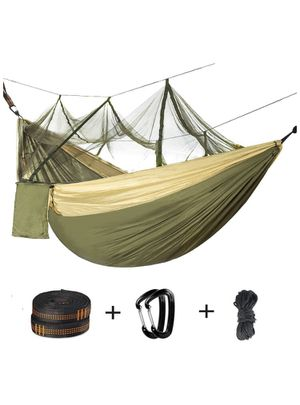 Double Camping Hammock with Mosquito Net - 2 Person Parachute Hammock Lightweight Portable Hammock with Tree Straps for Backpacking Travel Beach Hiki for Sale in Alta Loma, CA