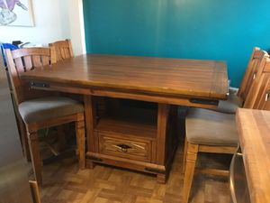 Large solid wood bar height dining table & 10 chairs for Sale in San Diego, CA