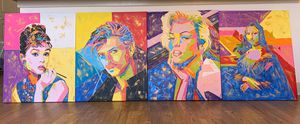 New Original Pop Art paintings with gold leaf on stretched canvas varnished sealed for Sale in Danbury, CT