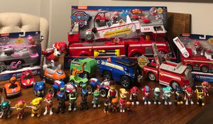 Paw Patrol Paw Patrol !! Mega collection new and use toy lot . Fire truck rocky skye jake chase Marshall Zuma Ryder Alex rubble dogs toys for Sale in Chula Vista, CA