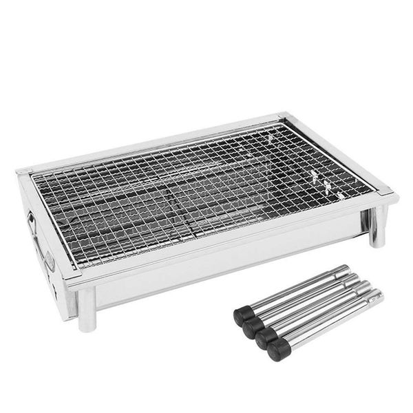 Fold Portable Barbecue Charcoal Grill Stove Stainless Steel Outdoor BBQ Picnic