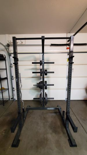 IronMaster Half Rack Squat Rack with weights for Sale in Phoenix, AZ