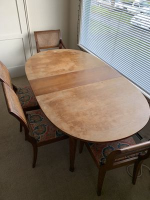 Beautiful wooden table + chair set (with two inserts included - pictured with one) for Sale in Seattle, WA