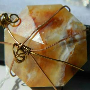 New Mexico Fire Agate, faceted and wire wrapped. for Sale in Clawson, UT