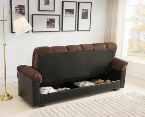 DARK BROWN Fabric FUTON Sofa Bed with Storage for Sale in Highland, CA