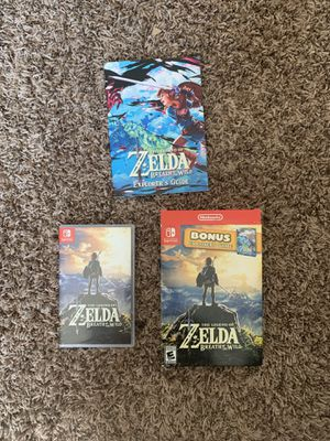 The Legend of Zelda Breath of the Wild with Explorer's Guide for Sale in Merced, CA