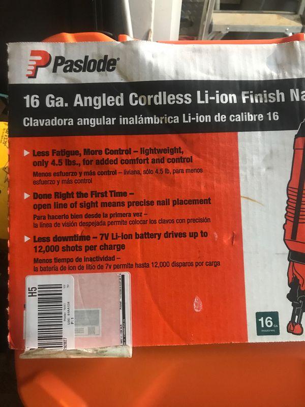Paslode 16 ga angle cordless li-ion finish nailer