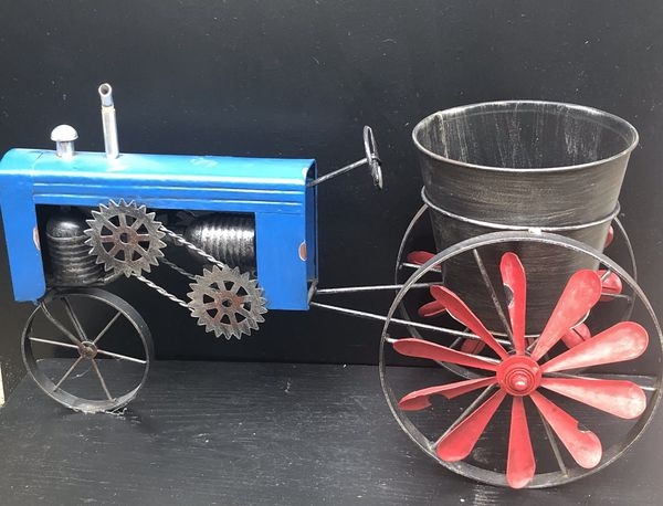 Metal Tractor Planter Red Blue & Silver Tractor Large Planter Rustic Metal Tractor Planter