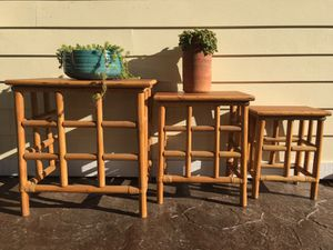Vintage set of three rattan side table/plant stands! for Sale in Knoxville, TN