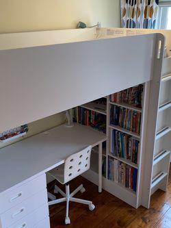 IKEA SMÅSTAD Loft bed with 3-drawer desk, white, Twin for Sale in Philadelphia,  PA