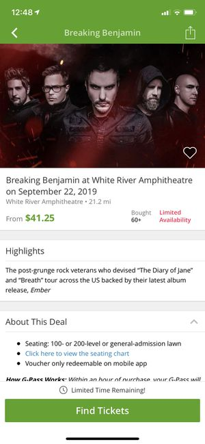 Two Concert Tickets- Breaking Benjamin for Sale in Joint Base Lewis-McChord, WA