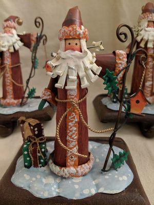 Vintage Christmas Stocking Holders- Santa Holding Cane-handmade with Metal Base for Sale in Alpharetta, GA