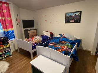 Two Twin Beds That Turn In To Bunk Beds Have All Parts Just Not The Latter Ask For 50 No Lower Then That for Sale in Portland,  OR