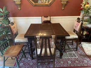English Antique Oak Barley Twist Draw Leaf Dining Table and 4 Chairs for Sale for sale  Princeton, NJ