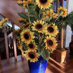 Blue Vase w/ Artificial Sunflowers for Sale in Palatine, IL