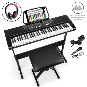 61-Key Beginners Electronic Keyboard Piano Set w/ LED, 3 Teaching Modes, H-Stand, Stool, Microphone for Sale in Dublin, OH