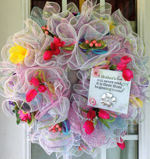 Mothers Day Gift Wreath for Front Door, Spring Wreaths for Front Door, Wreaths for Front Door for Sale in Selma, NC