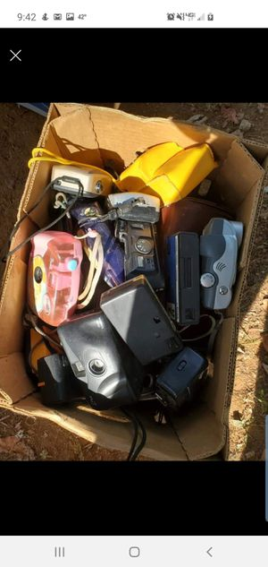 Box of old 35mm and digital cameras for Sale in Lexington, KY